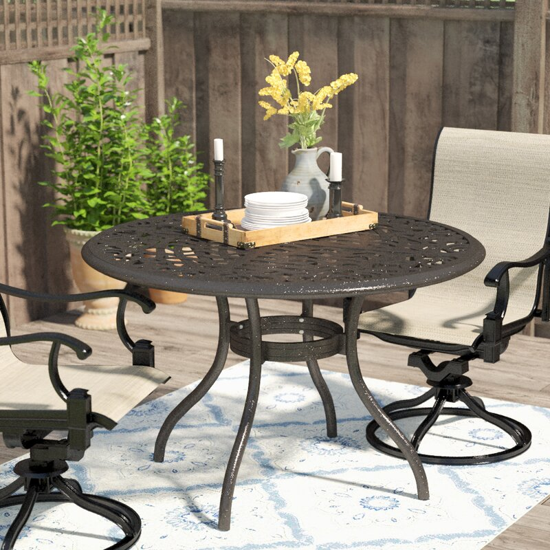 Darby Home Co Usrey Outdoor Aluminum Dining Table Reviews Wayfair Best Aluminum Dining Room Chairs