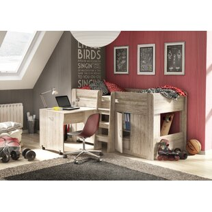 Ruthie European Single Mid Sleeper Bed With Desk and Tunnel by Viv   Rae