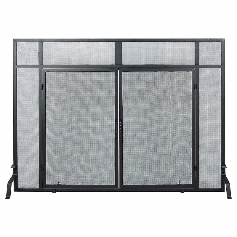 Minuteman Windowpane 4 Panel Wrought Iron Fireplace Screens With