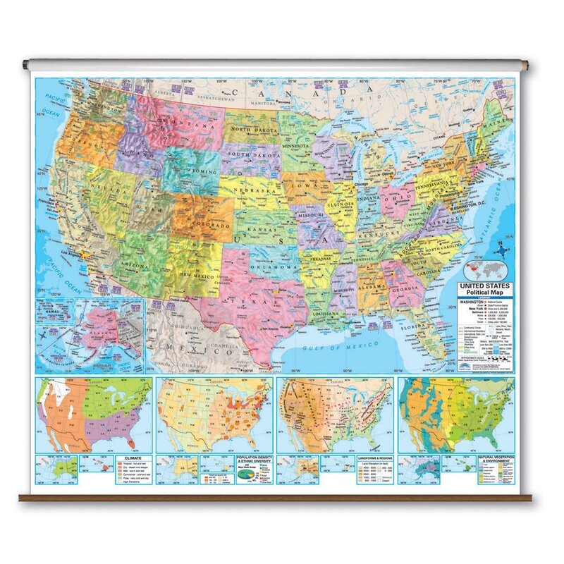 Universal Map Advanced Political Map United States Wayfair Ca