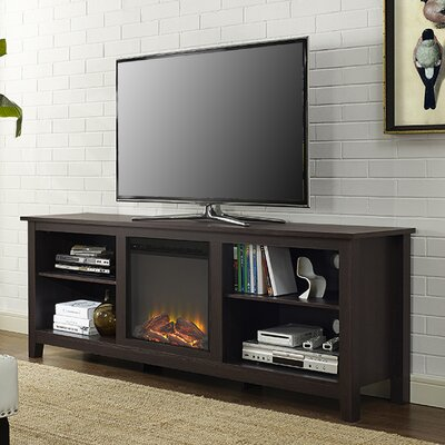 Beachcrest Home Sunbury TV Stand for TVs up to 70 with optional Fireplace Color: Espresso, Fireplace Included: Yes
