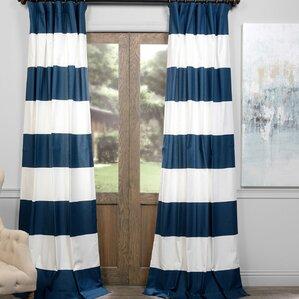 Wilkesvill Horizontal Striped Thermal Rod Pocket Single Curtain Panel