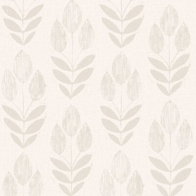 Brayden Studio Ladwig Scandinavian 33' x 20.5 Block Tulip Floral Wallpaper Roll Color: Grey
