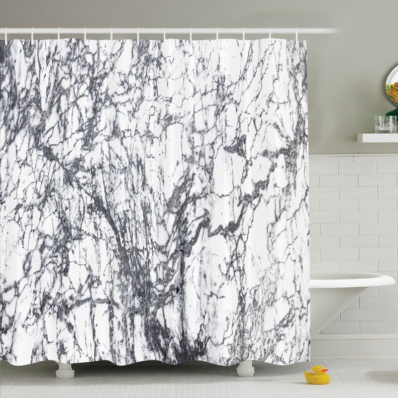 Murky Marble Rock Motifs With Dynamic Fractal Figures Abstract Artsy Shower  Curtain Set