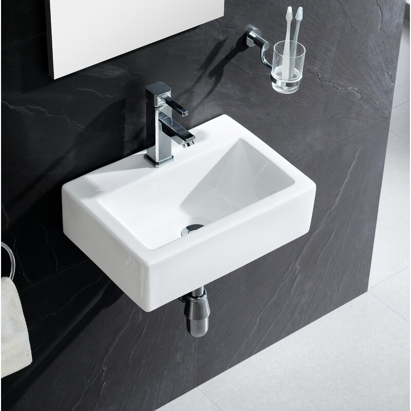 modern ceramic 17 wall mount bathroom sink - Modern Bathroom Sinks