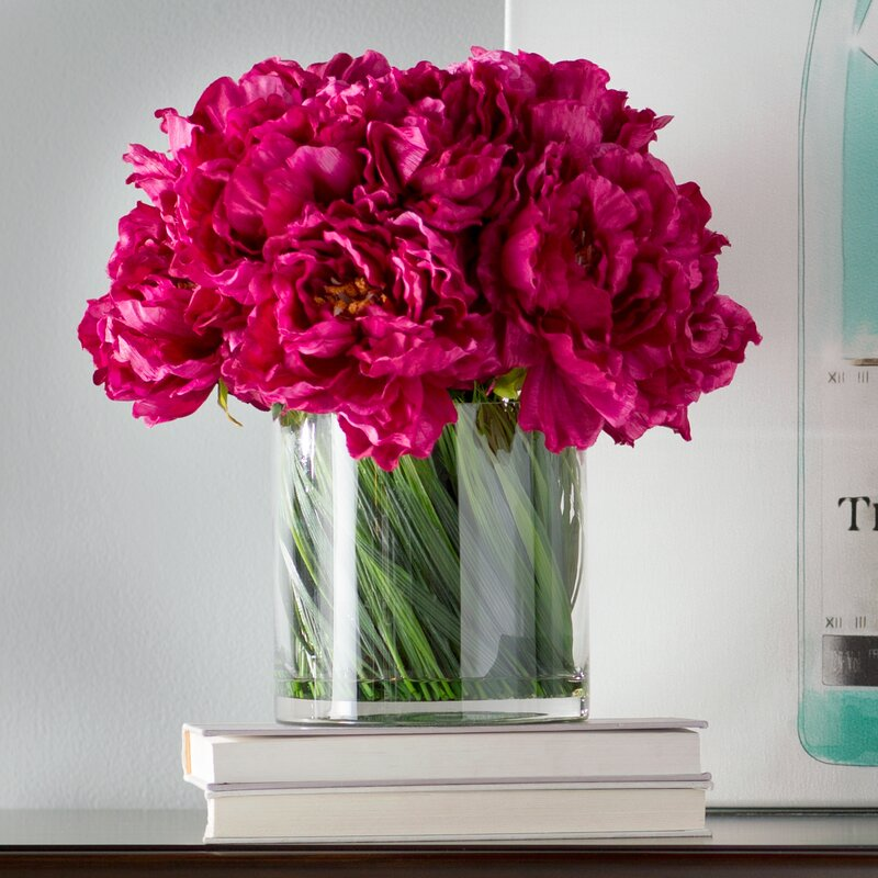 Willa Arlo Interiors Magenta Peony Bouquet In Acrylic Water Glass