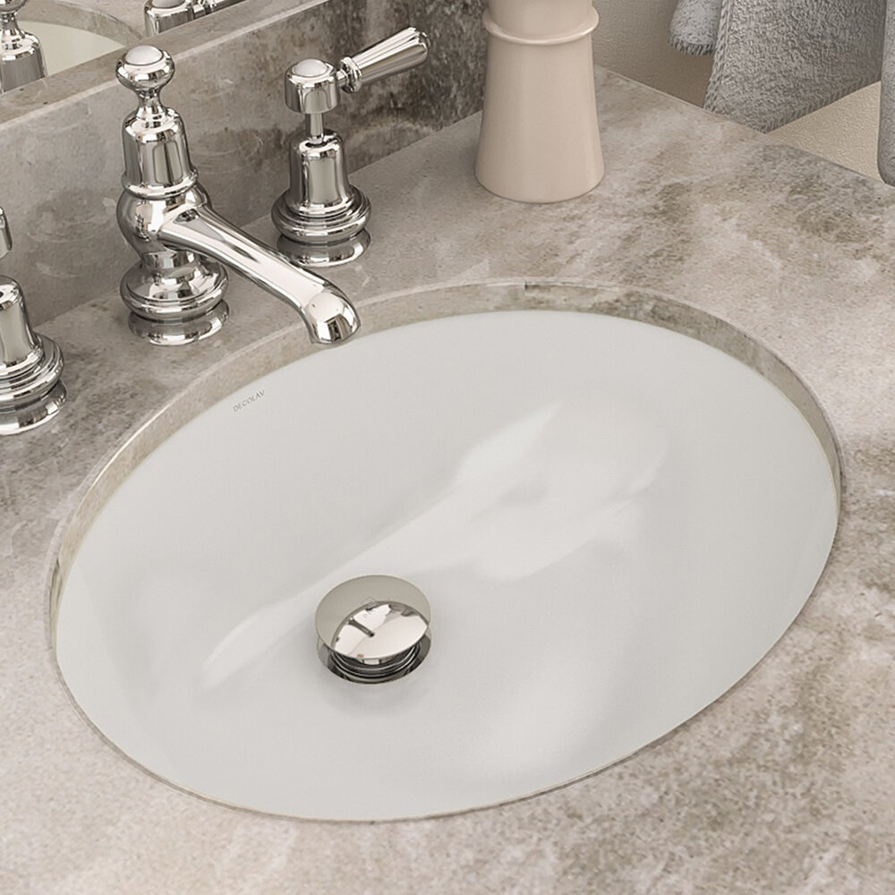 Bathroom Sink.Classically Redefined Vitreous China Oval Undermount Bathroom Sink With Overflow
