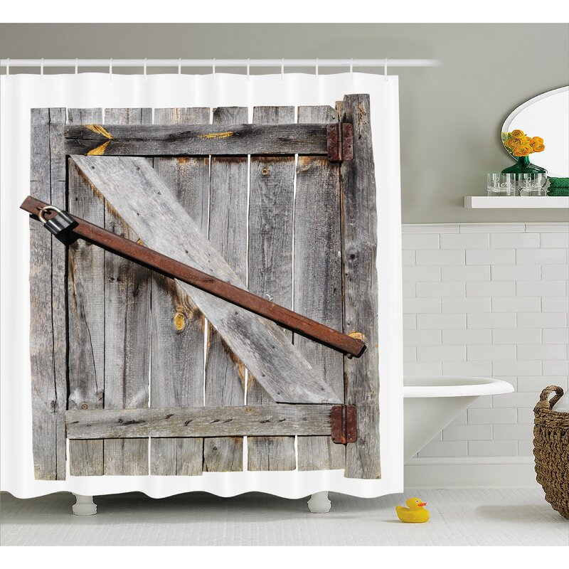 Wood Shower Curtain Part - 16: Rustic Aged Wooden Barn Door Shower Curtain