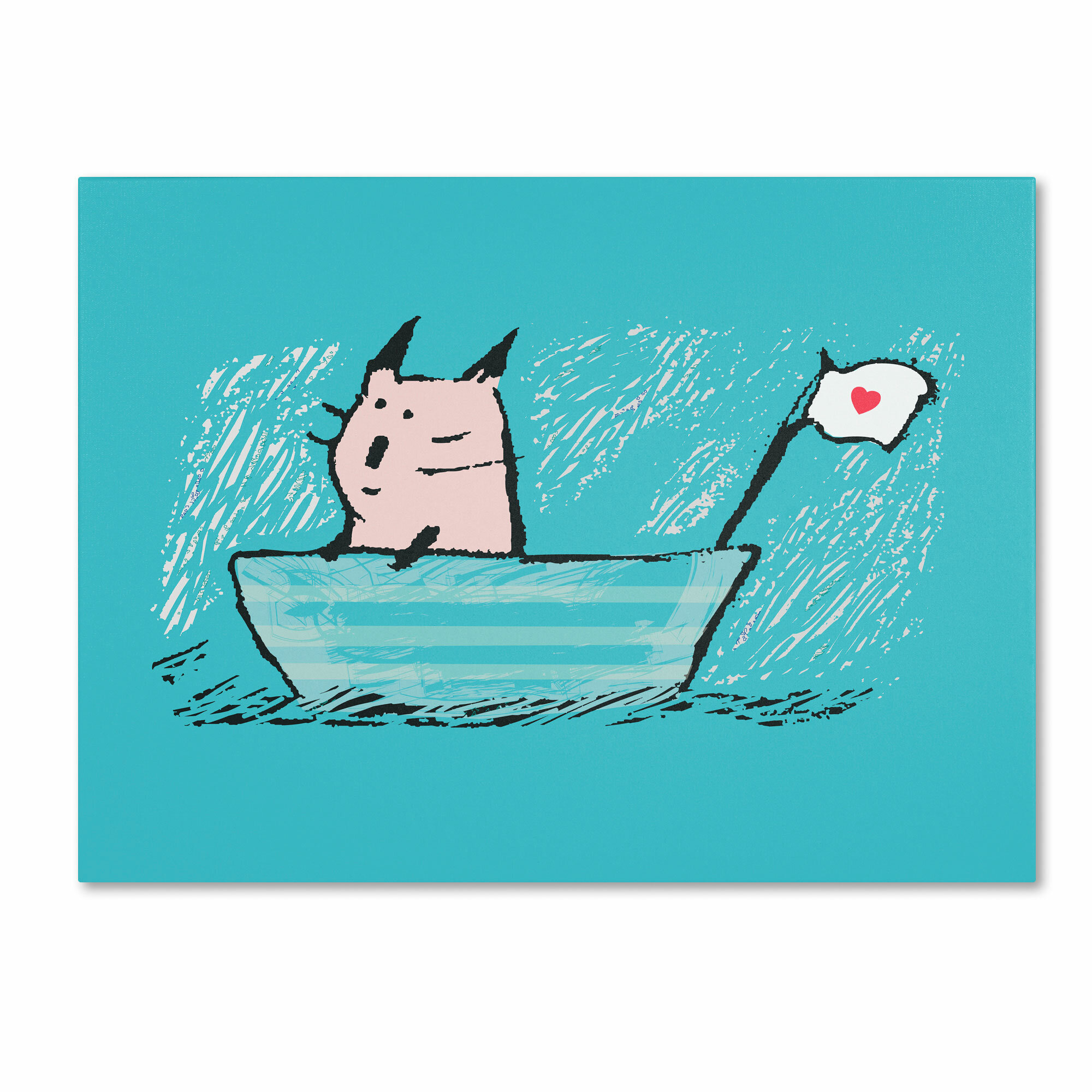 """Trademark Art """"Sweet Sailor Cat"""" by Carla Martell Painting Print on"""