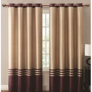 Beal Striped Room Darkening Grommet Single Curtain Panel