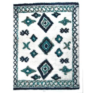 Clearance Jarne Tribal Teal/White Area Rug By Union Rustic