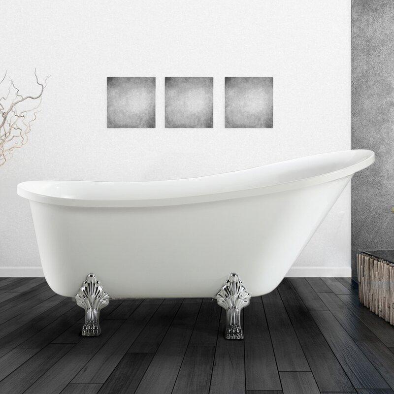 "vinnova jacqueline 63"" x 28"" soaking bathtub & reviews | wayfair"