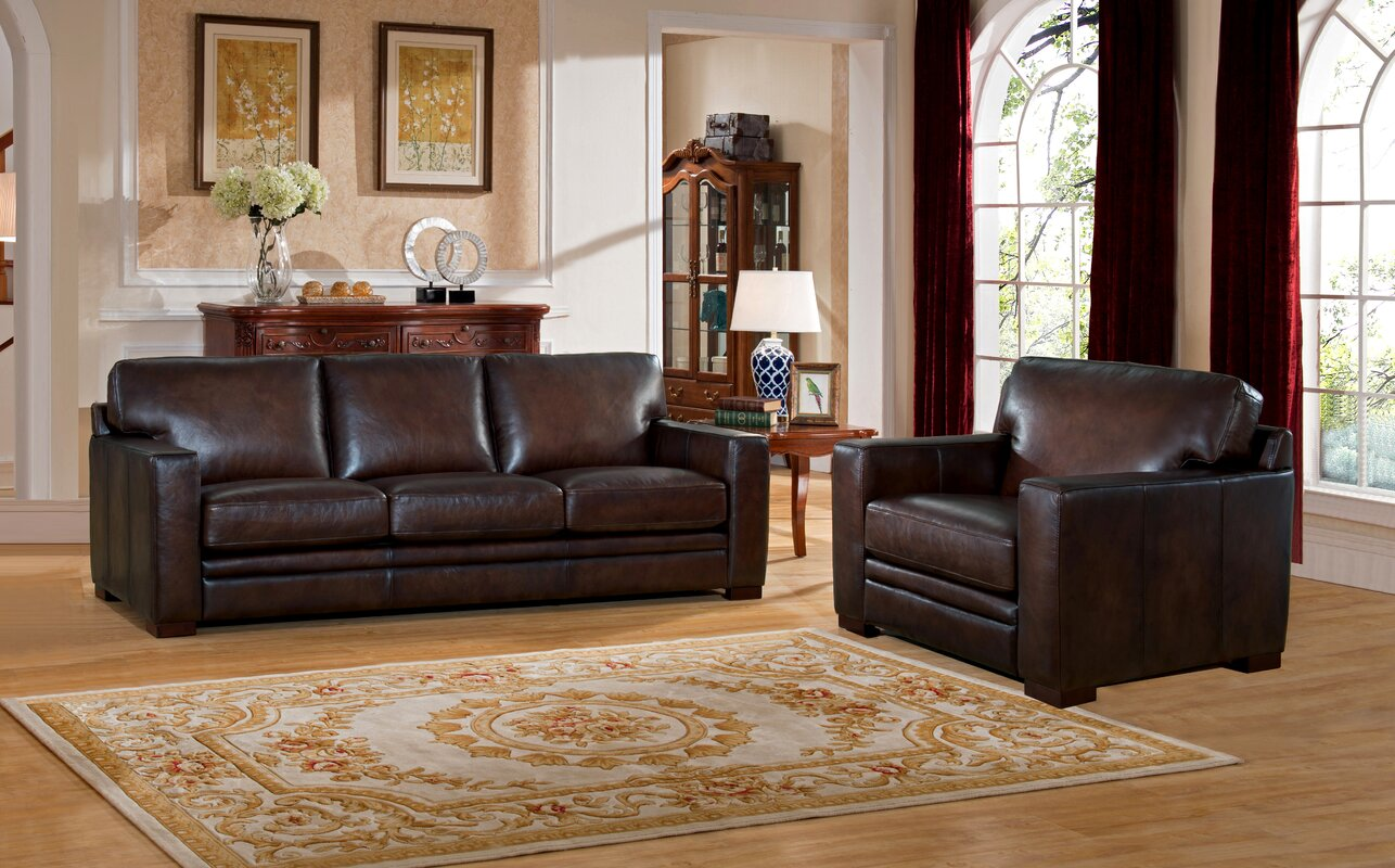 World menagerie mcdonald leather 2 piece living room set reviews 2 piece leather living room set