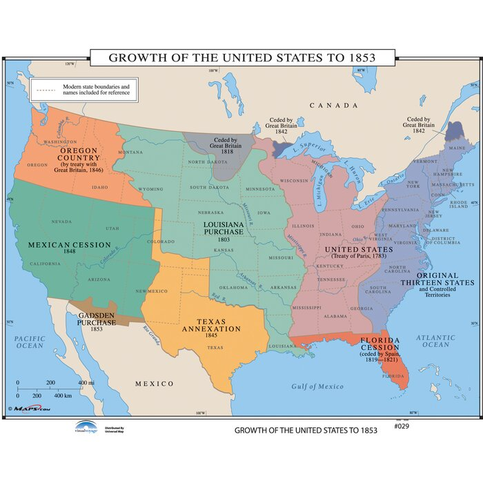 Universal Map US History Wall Maps Growth Of US To - Us mexico wall map