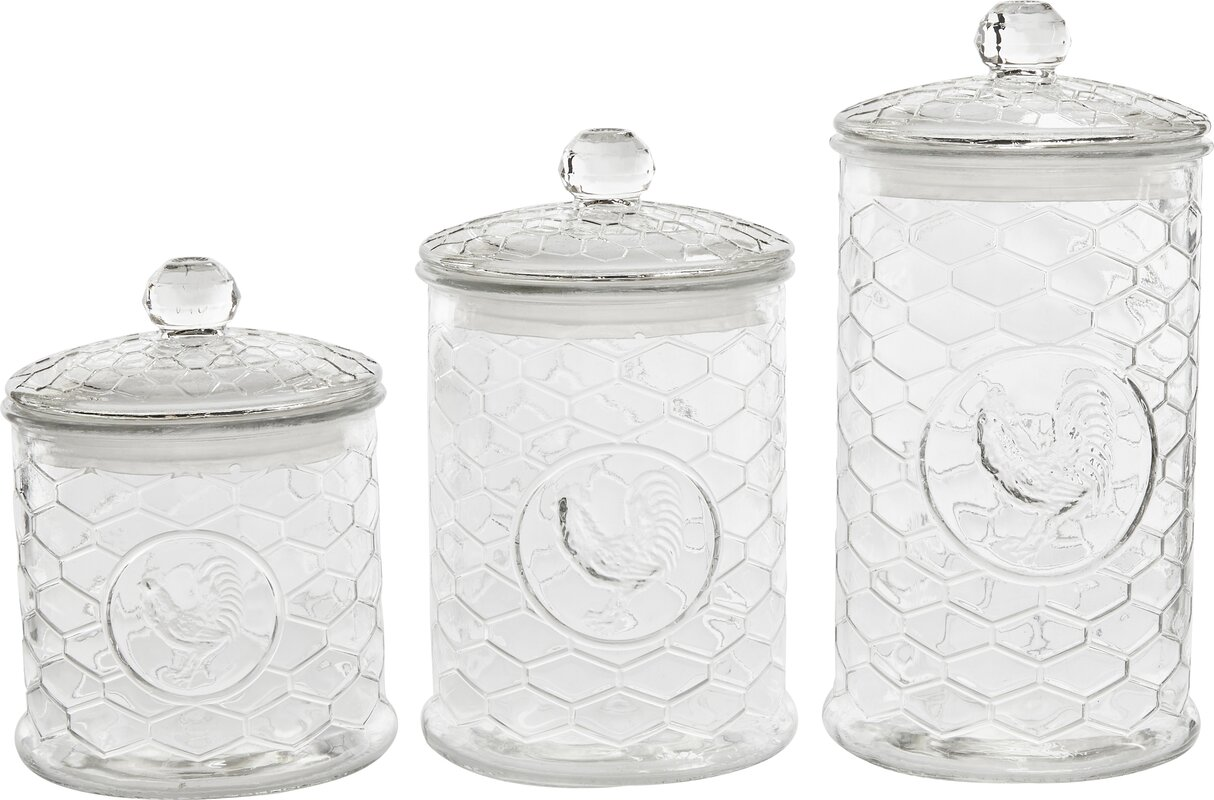 Circle Glass Rooster Design 3 Piece Kitchen Canister Set Reviews