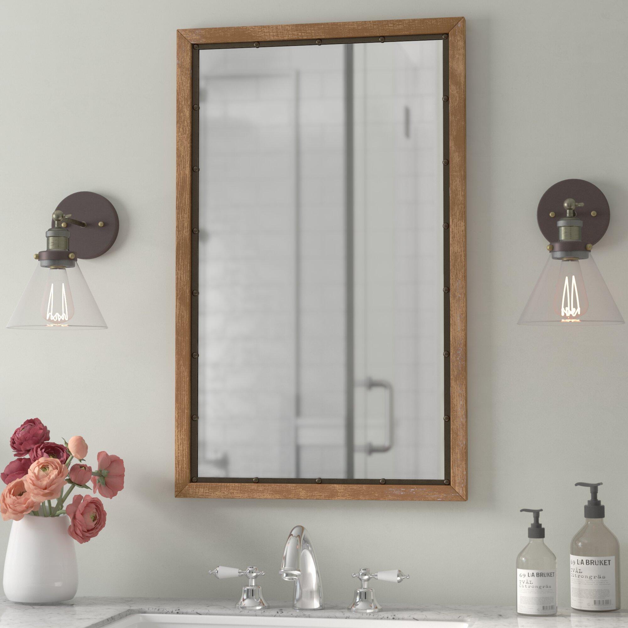 Gracie oaks verduzco rustic wood wall mirror reviews wayfair