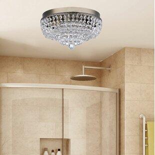 Disco ball ceiling light wayfair aguilera brass round manon crystal ceiling 2 light flush mount aloadofball Images