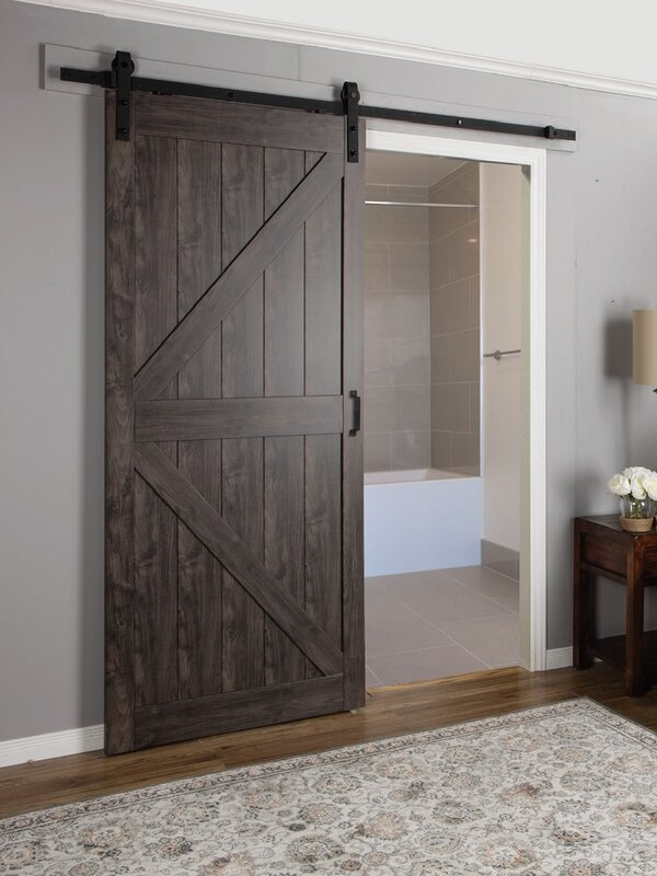 erias home designs continental mdf engineered wood 1 panel interior barn door reviews wayfair. Black Bedroom Furniture Sets. Home Design Ideas