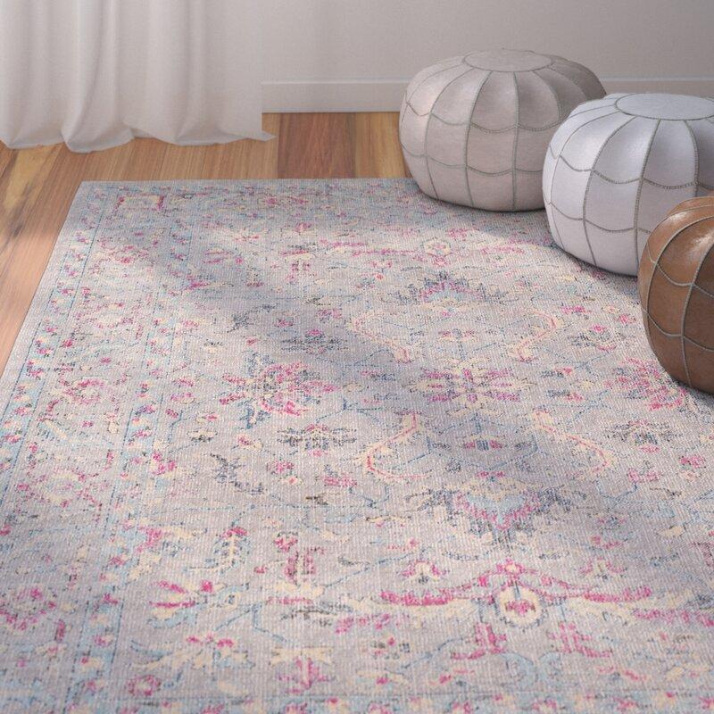 Bungalow Rose Randhir Floral Gray/Pink Area Rug & Reviews
