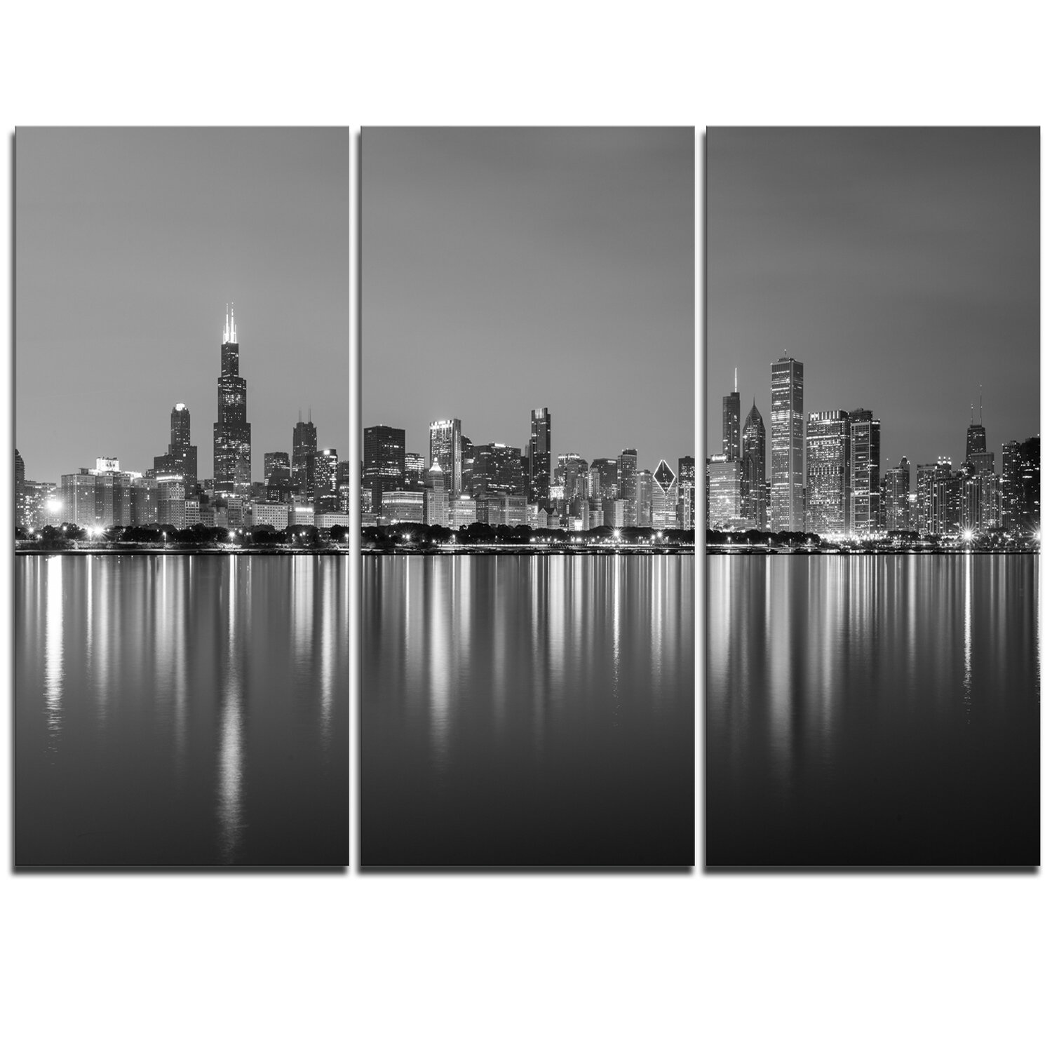 Designart chicago skyline at night black and white 3 piece graphic art on wrapped canvas set reviews wayfair
