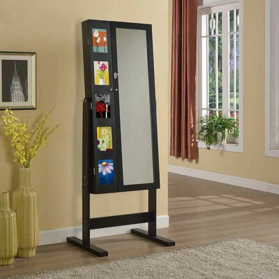Artiva USA Deluxe Double Doors Jewelry Armoire with Chevor Mirror