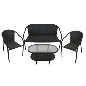 4 Piece Resin Wicker Patio Furniture Set