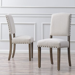 60c0bd1dc3a0a Rodarte Linen Padded High Back Upholstered Dining Chair (Set of 2)