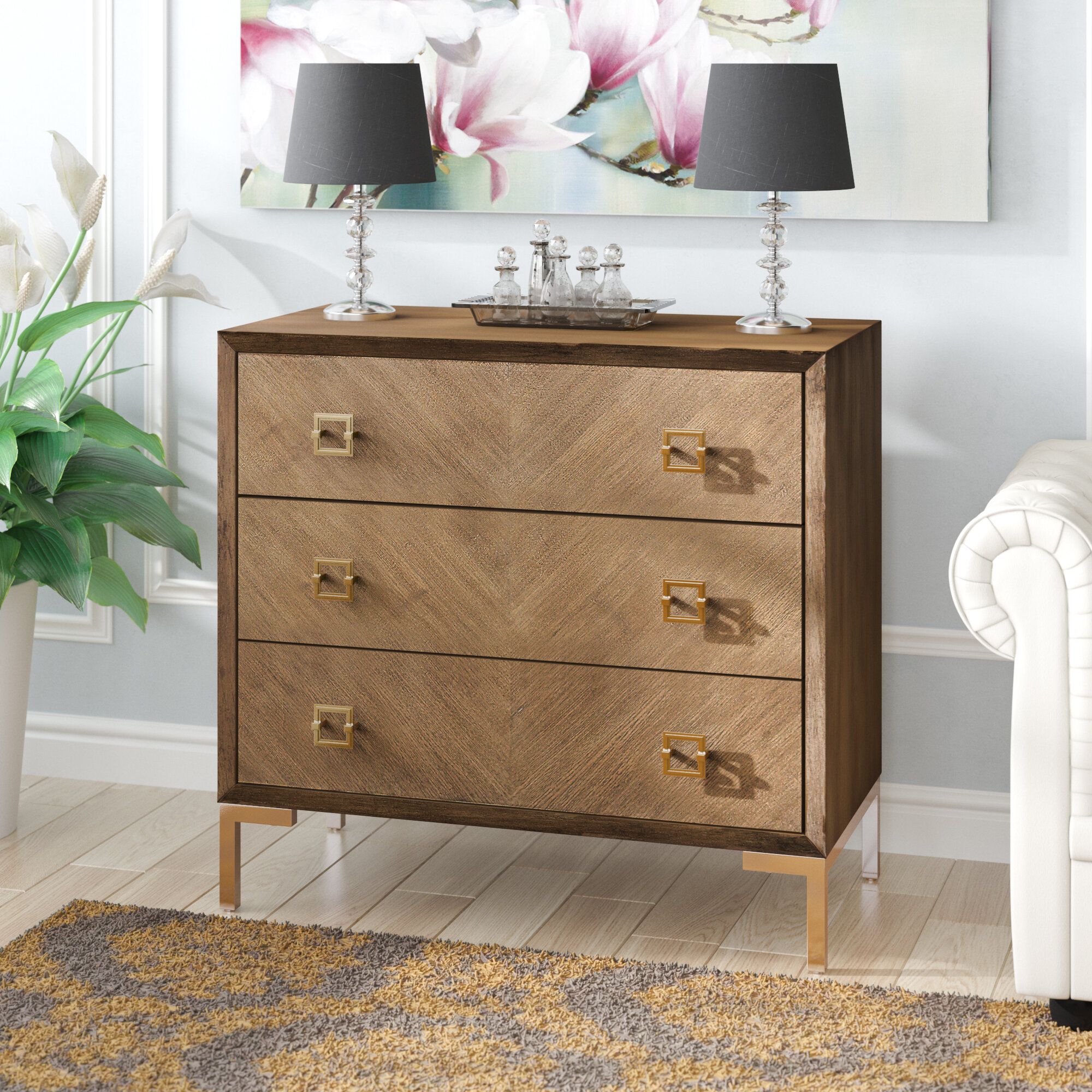 Everly Quinn Daina 3 Drawer Chest Reviews Wayfair