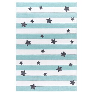 Stars Turquoise/White Rug by Livone