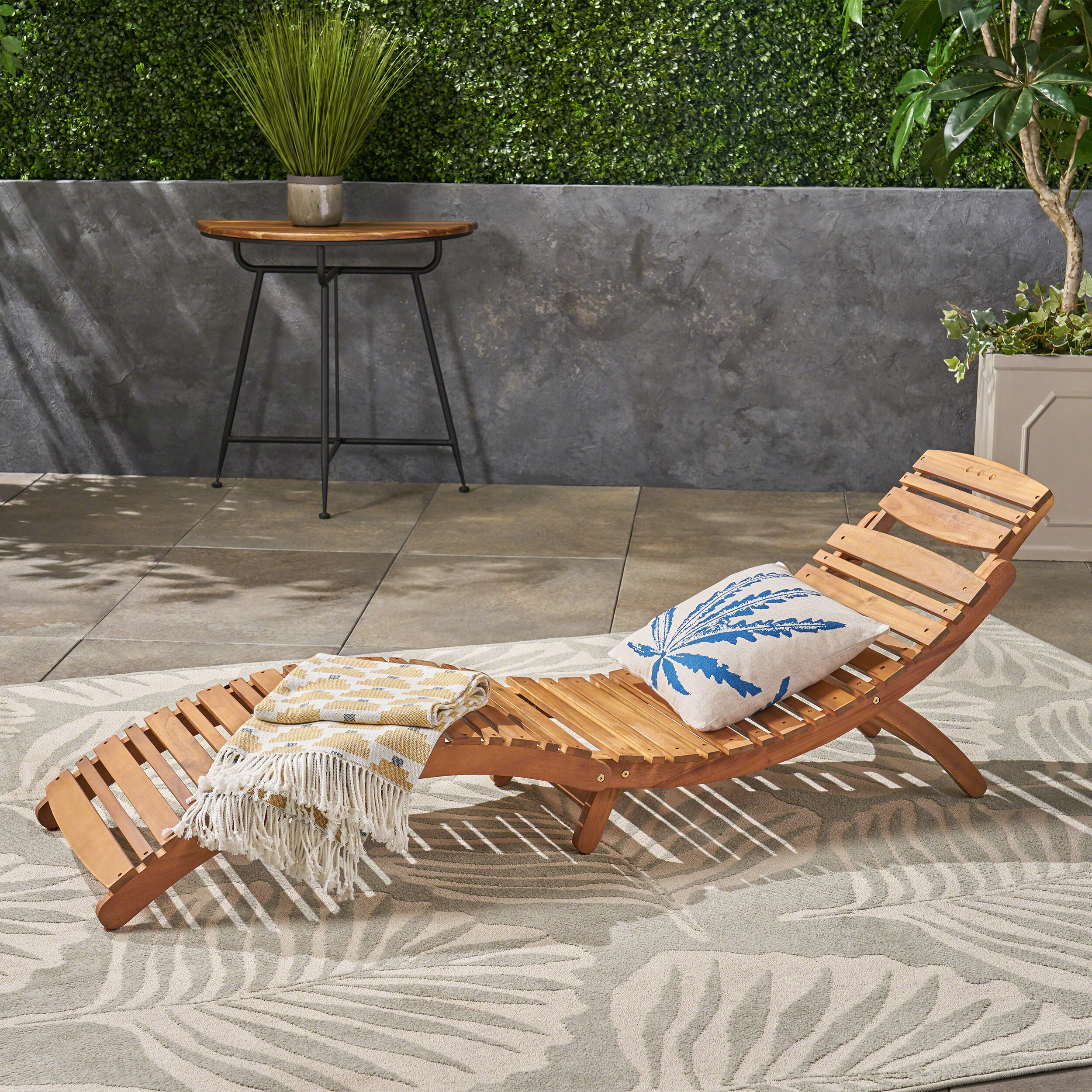 Outdoor Chaise Lounge.Tifany Wood Outdoor Chaise Lounge
