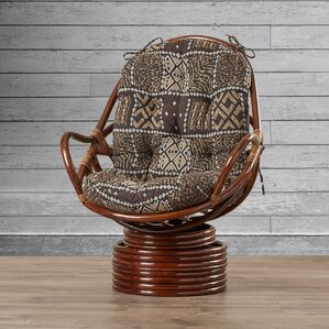 Loon Peak Sandstone Rattan Swivel Rocker