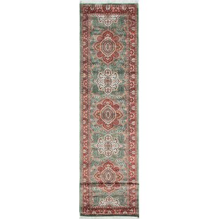 One Of A Kind Dodds Hand Knotted Runner 2 7 X 12 5 Green Red Area Rug