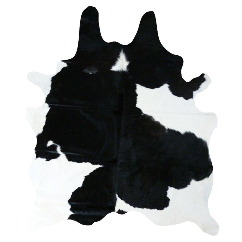 Wade Logan Cedarton Natural Cowhide Black/White Area Rug