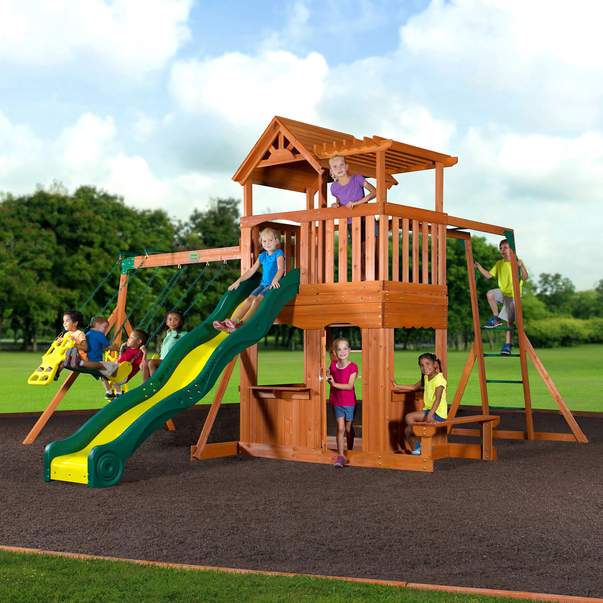 set today backyard sports overstock somerset cedar swingset product discovery toys free monterey shipping swing wood