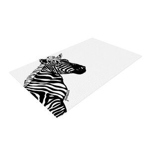 Geordanna Cordero-Fields My Zebra Head Black/White Area Rug