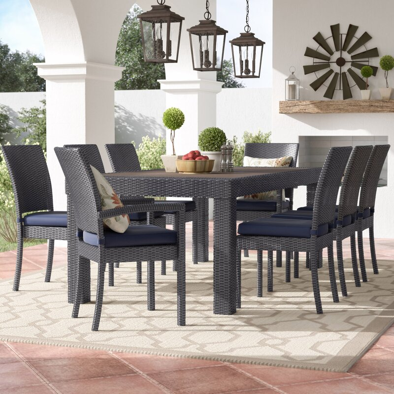 Evansville 9 Piece Outdoor Dining Set With Cushion