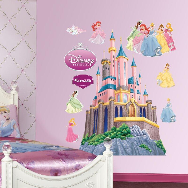 fathead disney princess castle wall decal | wayfair