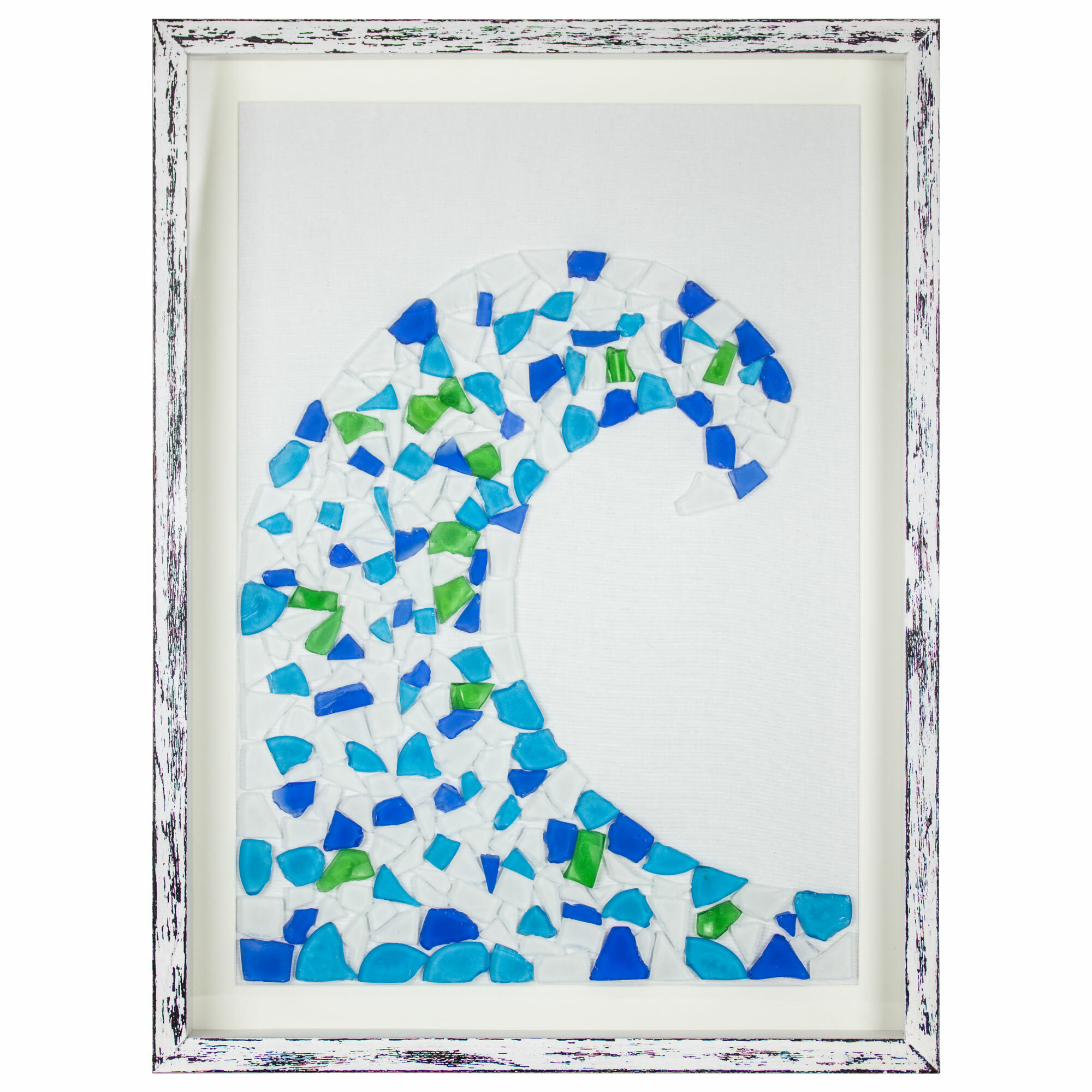Highland Dunes \'Ocean Wave Sea\' Stained Glass Mosaic Framed Wall Art ...