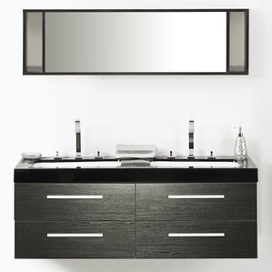 courtyard 55 double bathroom vanity set with mirror