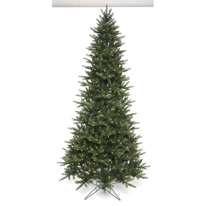 Easy Plus Slim Greenridge 7 5 Green Spruce Artificial Christmas Tree With 700 Clear White Lights