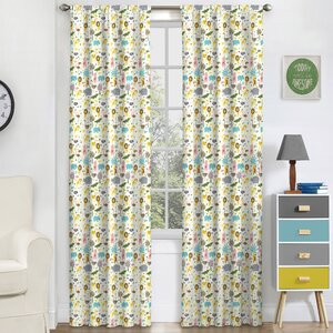 Halie Kids Graphic Print & Text Blackout Thermal Rod Pocket Single Curtain Panel