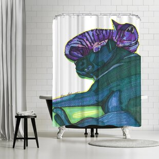 Solveig Studio Sleeping Cat And Dog Single Shower Curtain