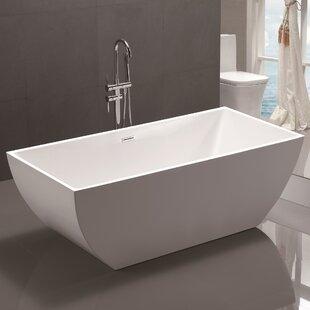 Freestanding Tub With Faucet Holes. 59  x 29 5 Freestanding Soaking Bathtub Tub Deck Mount Wayfair