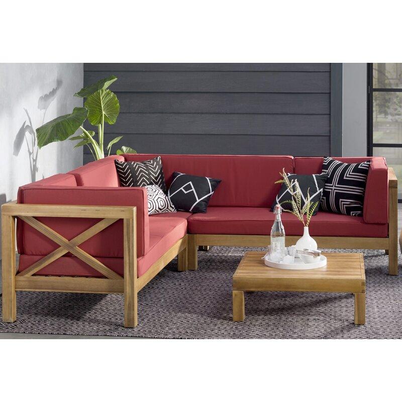 Lejeune 4 Piece Sofa Set With Cushions