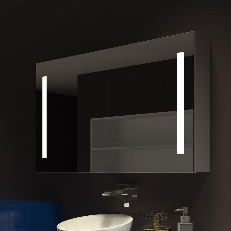 Orren Ellis Lency 48 X 28 Surface Mount Frameless Medicine Cabinet With 3 Shelves And Led Lighting Wayfair