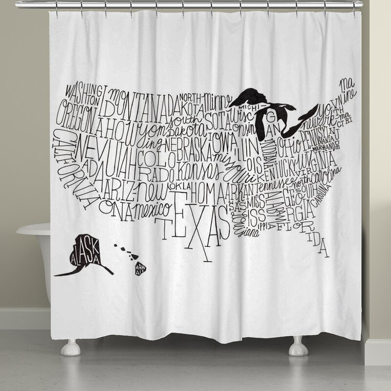 LauralHome Hand Lettered US Map Shower Curtain Reviews Wayfair