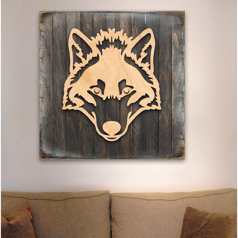 Wooden Block Celtic Wolf Wall Decor