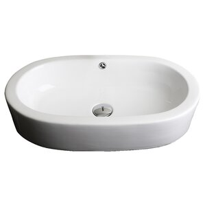 Attractive Ceramic Oval Vessel Bathroom Sink With Overflow