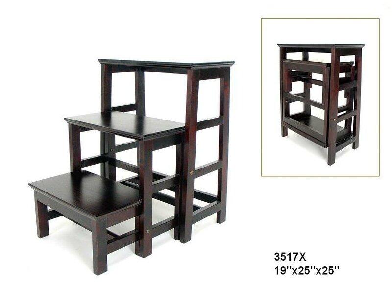 Wayborn 3 Step Wood Retractable Step Stool With 200 Lb