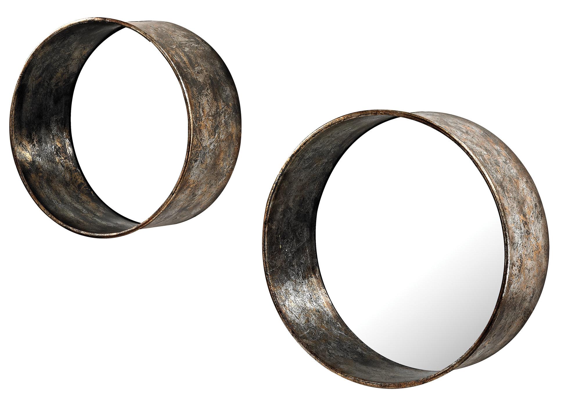 2 Piece Oil Drum Mirror Set